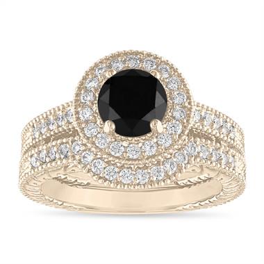 1.66 Carat Black Diamond Engagement Ring Set, Vintage Wedding Rings Sets, Halo 14K Yellow Gold Certified Handmade Unique