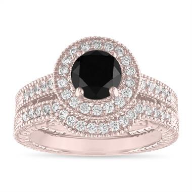 Black Diamond Engagement Ring Set, Wedding Rings Sets, 14K Rose Gold Halo Pave Vintage Style Certified Handmade Unique