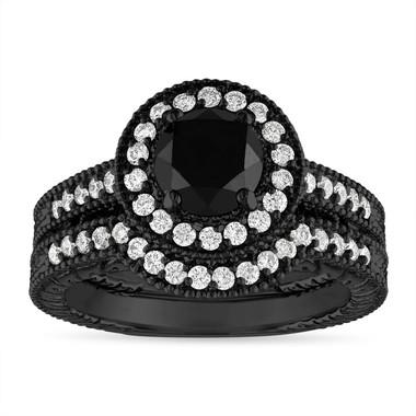 Vintage Black Diamond Engagement Rings Set, Black Gold Wedding Rings Sets, Halo Pave 1.66 Carat Certified Handmade Unique