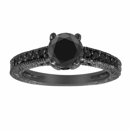 1.62 Carat Black Diamond Engagement Ring, 14K Black Gold Vintage Wedding Ring, Unique Antique Style Engraved Certified Pave Handmade
