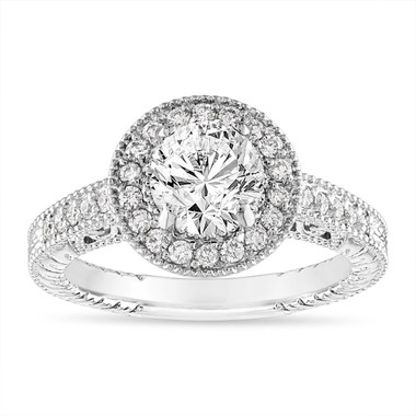 1.29 Carat Diamond Engagement Ring, Scroll Detailing GIA Certified Vintage Style Engraved Halo Pave 14K White Gold Unique