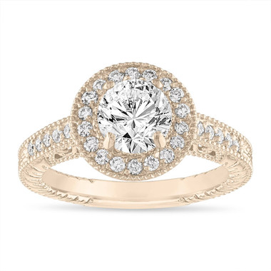 1.29 Carat Diamond Engagement Ring, Scroll Detailing GIA Certified Vintage Style Engraved Halo Pave 14K Yellow Gold Unique