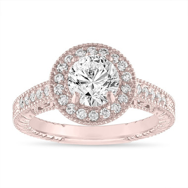 Rose Gold Diamond Engagement Ring Scroll Detailing 1.29 Carat GIA Certified Vintage Style Engraved Halo Pave Unique
