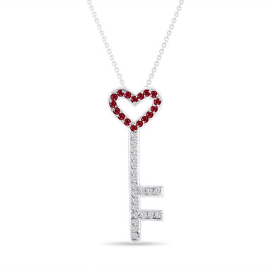 Ruby and Diamonds Key Pendant, Key Necklace, Unique Love Heart Pendant, 14K White Gold 0.50 Carat Pave Handmade