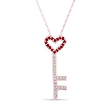 Ruby and Diamonds Key Pendant, Key Necklace, Unique Love Heart Pendant, 14K Rose Gold 0.50 Carat Pave Handmade