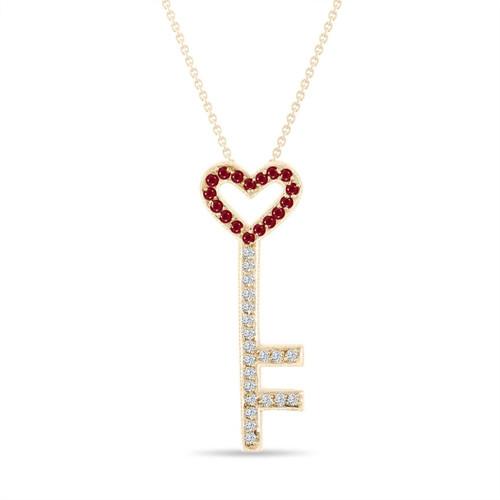 Ruby and Diamonds Key Pendant, Key Necklace, Unique Love Heart Pendant, 14K Rose Gold 0.50 Carat Pave Handmade