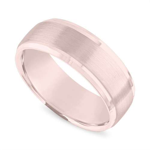 18K Rose Gold Mens Wedding Band, Brushed Finish 8 mm Mens Wedding Ring, 18K Yellow Gold or White Gold or Black Gold Unique Handmade