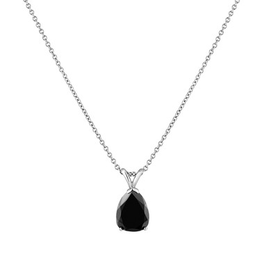 2.70 Carat Pear Shaped Black Diamond Solitaire Pendant Necklace 14K White Gold Handmade Certified