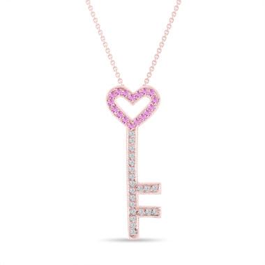 Pink Sapphire and Diamonds Key Pendant, Key Necklace, Unique Love Heart Pendant, 14K Rose Gold 0.50 Carat Pave