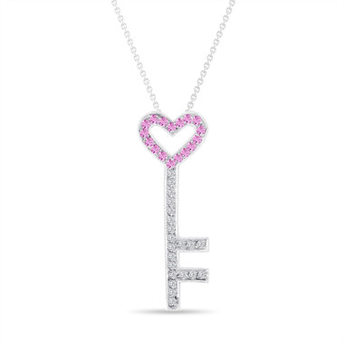 Pink Sapphire and Diamonds Key Pendant, Key Necklace, Unique Love Heart Pendant, 14K White Gold 0.50 Carat Pave