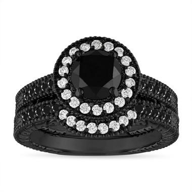 1.53 Carat Black and White Diamonds Engagement Ring Set, 14K Black Gold Vintage Wedding Rings Sets, Halo Pave Certified Handmade Unique
