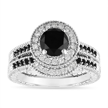 Black and White Diamonds Engagement Ring Set, 1.53 Carat Vintage Wedding Rings Sets, Halo Pave 14K White Gold Certified Handmade Unique