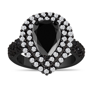 3.70 Carat Black and White Diamonds Engagement Ring 14K Black Gold Vintage Style Pear Shaped Double Halo Unique Handmade Certified
