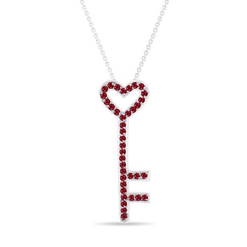 Ruby Key Pendant, Key Ruby Necklace, Unique Love Heart Pendant, 14K White Gold 0.50 Carat Pave Handmade