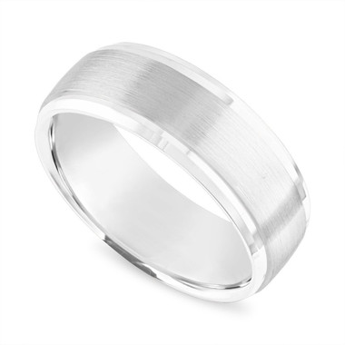 Platinum Mens Wedding Band, 8 mm Brushed Finish Wedding Ring, Handmade