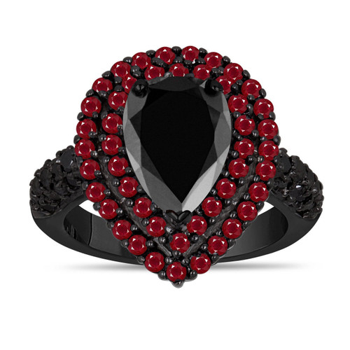 Black Diamond & Rubies Engagement Ring 14K Black Gold Vintage Style Pear Shaped Double Halo 3.73 Carat Unique Handmade Certified