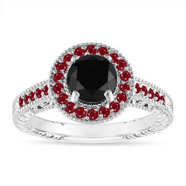 1.35 Carat Black Diamond and Ruby Engagement Ring Vintage Style Halo Pave 14K White Gold Certified Handmade Unique