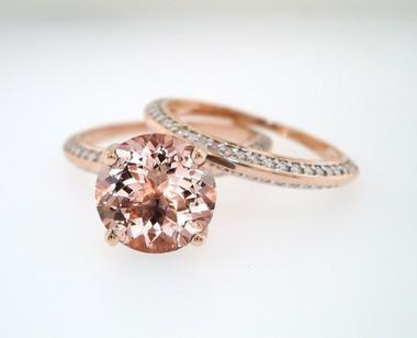 Morganite Engagement Ring Set, Rose Gold Pink Morganite and Diamonds Bridal Rings Set, Wedding Ring Sets, 1.84 Carat Certified Pave Handmade