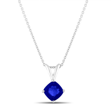 Blue Sapphire Solitaire Pendant Necklace 1.77 Carat Cushion Cut 14K White Gold Handmade