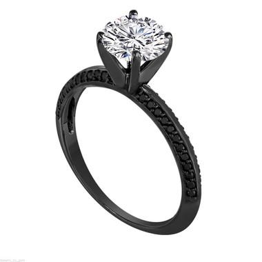 Diamond Engagement Ring Vintage, Unique Bridal Ring, Diamond Wedding Ring, 0.78 Carat GIA Certified 14K Black Gold Micto Pave Handmade
