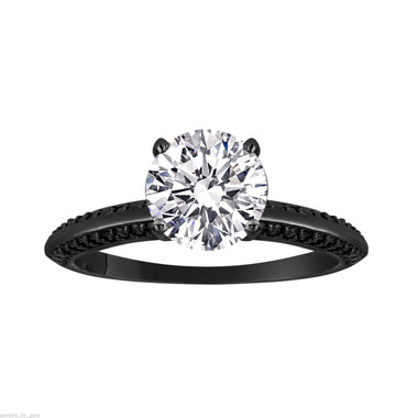 1.29 Carat Diamond Engagement Ring 14K Black Gold Vintage Style GIA Certified Micto Pave Unique Handmade