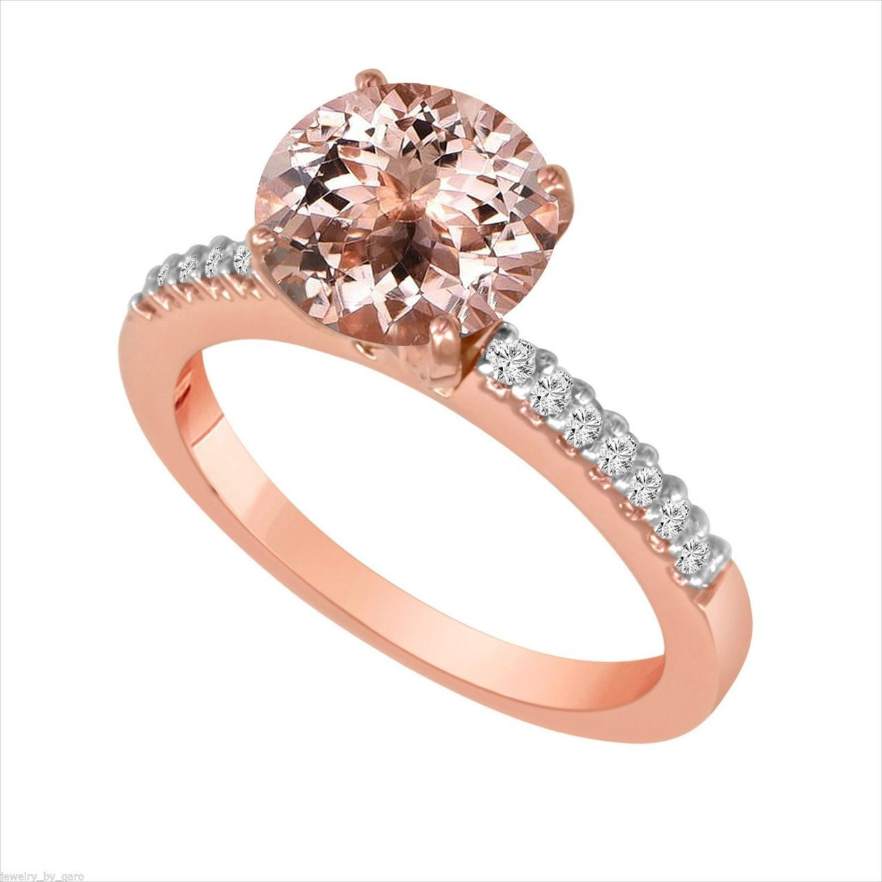 1 23 Carat Morganite Engagement Ring Rose Gold With Diamonds