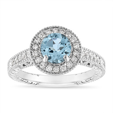 1.14 Carat Aquamarine and Diamond Engagement Ring Vintage Halo 14K White Gold or Rose Gold or Yellow Gold Handmade Unique