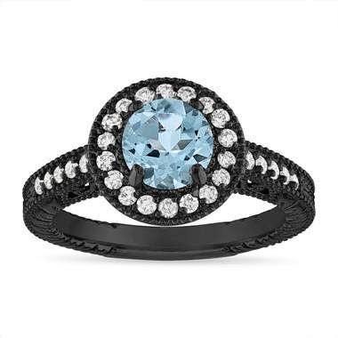 1.14 Carat Aquamarine and Diamond Engagement Ring Vintage Halo 14K Black Gold Handmade Unique