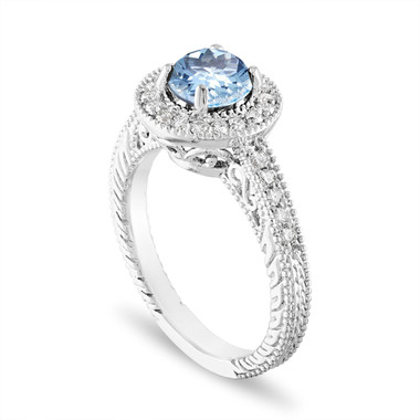 Platinum Aquamarine and Diamond Engagement Ring 1.14 Carat Vintage Halo Pave Certified Handmade Unique