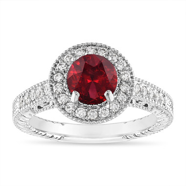 1.48 Carat Garnet and Diamond Engagement Ring Vintage Halo 14K White Gold Certified Handmade