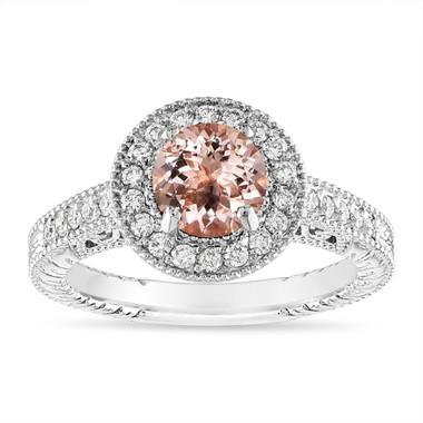 Morganite and Diamond Engagement Ring 1.14 Carat Vintage Halo 14K White Gold Handmade Unique