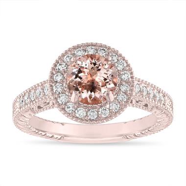 Morganite and Diamond Engagement Ring 1.14 Carat Vintage Halo 14K Rose Gold Handmade Unique