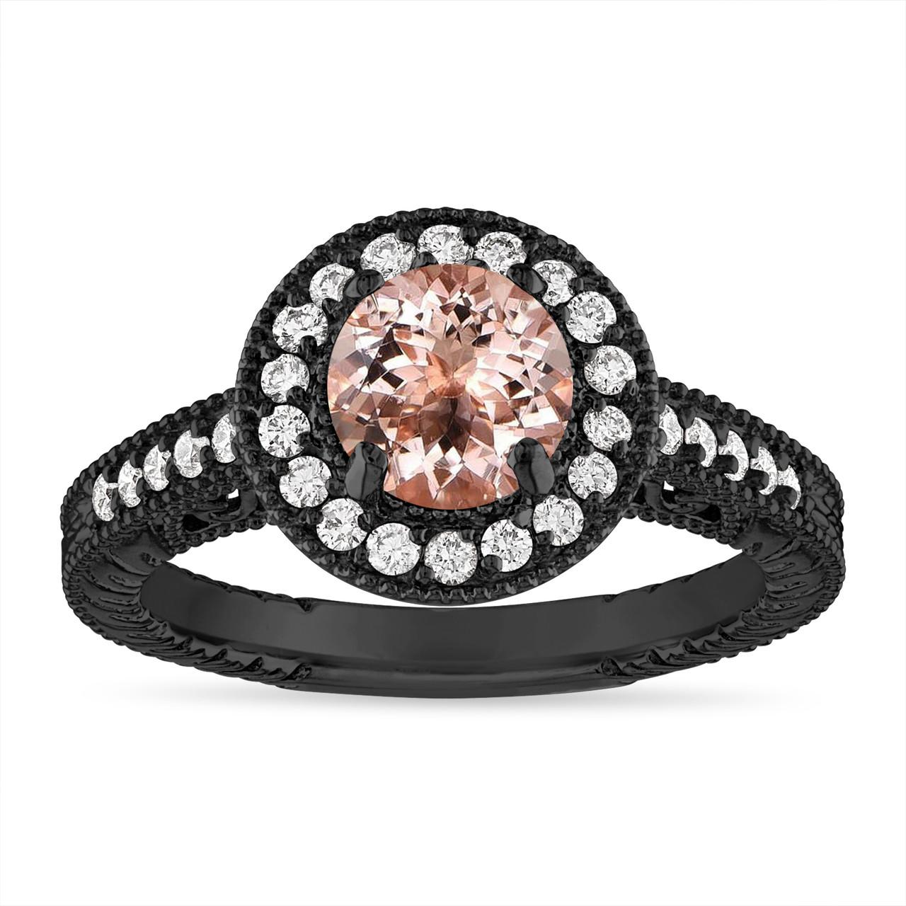 ab9f451ce290e Morganite and Diamond Engagement Ring 1.14 Carat Vintage Halo 14K Black  Gold Handmade Unique