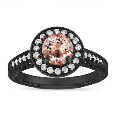 Morganite and Diamond Engagement Ring 1.14 Carat Vintage Halo 14K Black Gold Handmade Unique