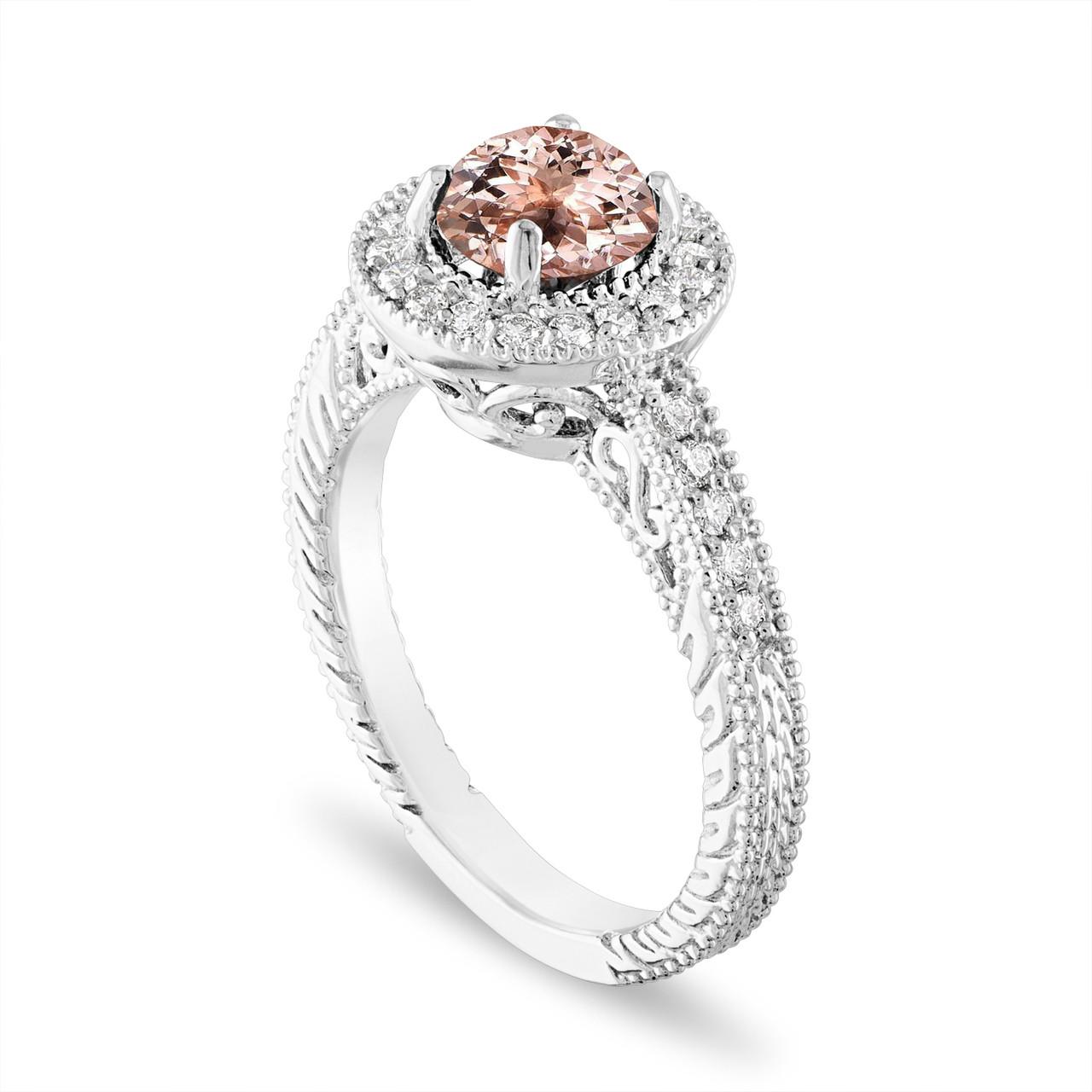 Platinum Morganite And Diamonds Engagement Ring 1 14 Carat