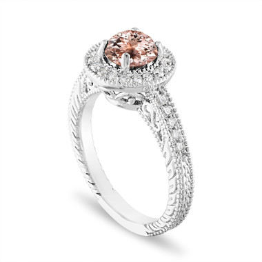 Platinum Morganite and Diamonds Engagement Ring 1.14 Carat Vintage Halo Pave Certified Handmade Unique