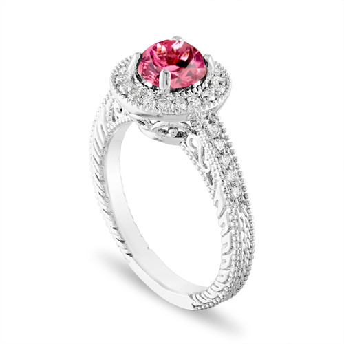 Platinum Pink Tourmaline and Diamonds Engagement Ring 1.14 Carat Vintage Halo Pave Certified Handmade Unique