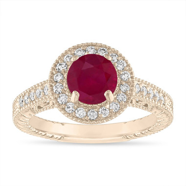 1.28 Carat Ruby and Diamond Engagement Ring Vintage 14K Yellow Gold or White Gold or Rose Gold Halo Handmade Unique Certified