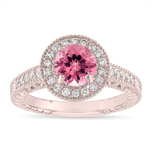 Pink Tourmaline Engagement Ring 1.28 Carat Vintage Halo 14K Rose Gold or White Gold or Black Gold or Yellow Gold Handmade Unique