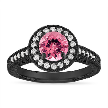 Pink Tourmaline Engagement Ring 1.28 Carat Vintage Halo 14K Black Gold Handmade Unique