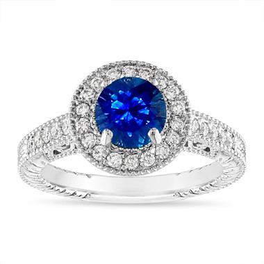 1.28 Carat Sapphire and Diamond Engagement Ring Vintage 14K Yellow Gold or White Gold Halo Handmade Unique Certified