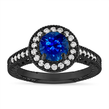 1.28 Carat Sapphire and Diamond Engagement Ring Vintage 14K Black Gold Halo Handmade Unique Certified