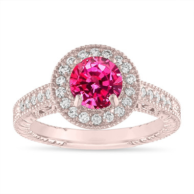 1.28 Carat Pink Sapphire Engagement Ring Vintage Style 14K Rose Gold or White Gold Halo Pave Handmade Unique Certified