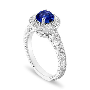 Platinum Sapphire and Diamond Engagement Ring 1.28 Carat Halo Pave Handmade Unique Certified