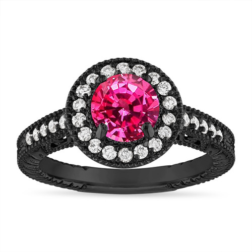 1.28 Carat Pink Sapphire Engagement Ring Vintage Style 14K Black Gold Halo Pave Handmade Unique Certified