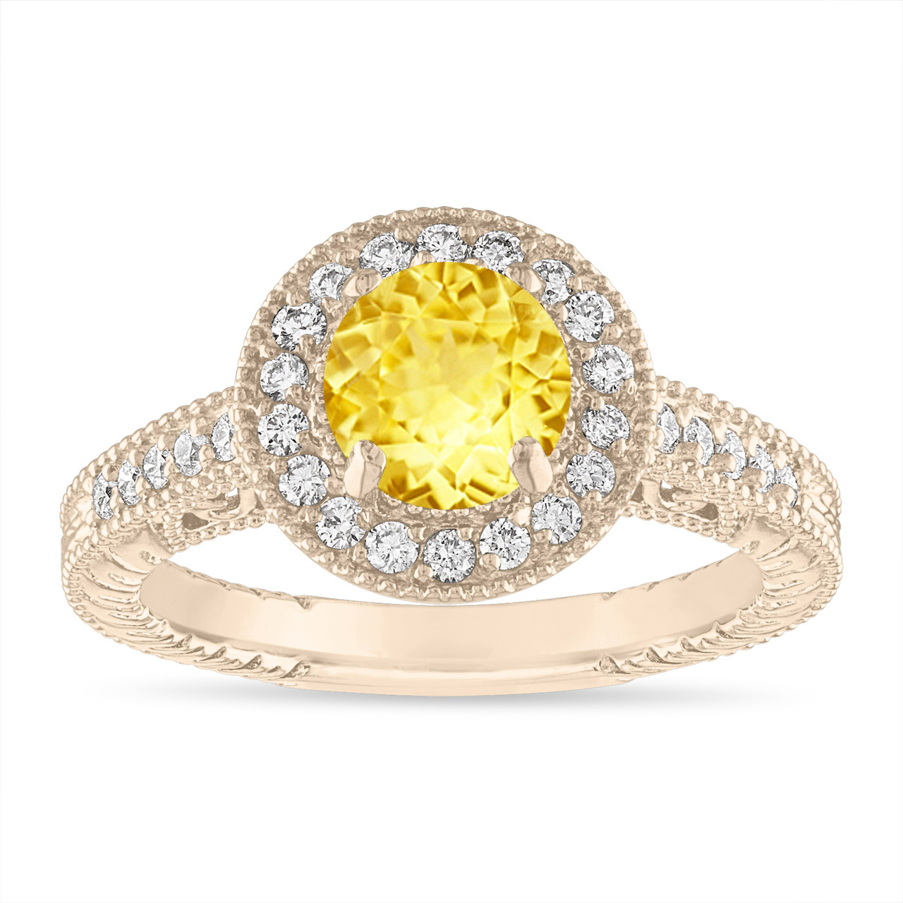 0b9ac9e015f00 Yellow Sapphire Engagement Ring Vintage Style 14K Yellow Gold or White Gold  1.28 Carat Halo Pave Handmade Unique Certified