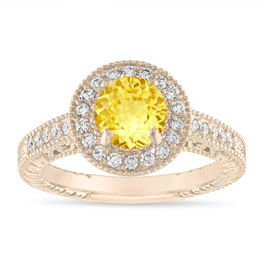 Yellow Sapphire Engagement Ring Vintage Style 14K Yellow Gold or White Gold 1.28 Carat Halo Pave Handmade Unique Certified