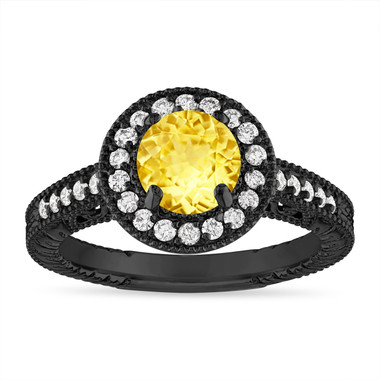 Yellow Sapphire Engagement Ring Vintage Style 14K  Black Gold 1.28 Carat Halo Pave Handmade Unique Certified
