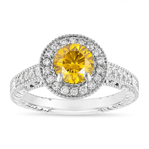 Fancy Yellow Diamond Engagement Ring, 1.29 Carat Yellow Diamond Wedding Ring, 14K White Gold or Yellow Gold Certified Handmade