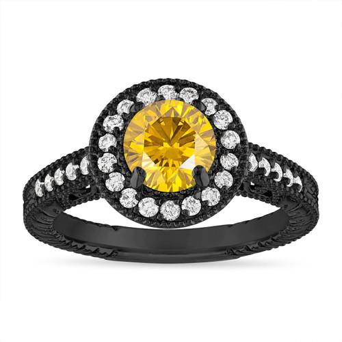 Fancy Yellow Diamond Engagement Ring, 1.29 Carat Yellow Diamond Wedding Ring, Vintage Style 14K  Black Gold Certified Handmade